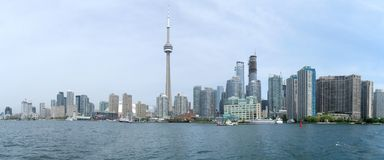 Toronto panorama. Wide-angle view of Downtown Area of Toronto, Canada from the Lake Ontario stock photos