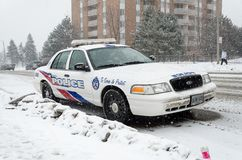 Toronto Police Car under the snow Stock Photos