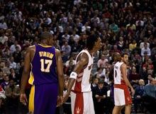 Toronto Rapters contre Los Angeles Lakers Photos libres de droits