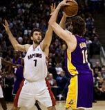 Toronto Rapters contro Los Angeles Lakers Immagine Stock Libera da Diritti
