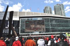 Toronto Raptors fans. Watching the game in giant screen at Maple Leaf Square Royalty Free Stock Images