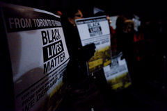 Toronto's Black Community takes action in solidarity with Ferguson protesters Stock Photo