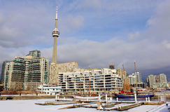 Toronto's frozen marina in winter with the view of CN Tower