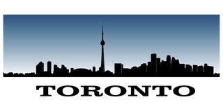 Toronto's skyline. Silhouette of toronto's skyline over orange background Royalty Free Stock Photography