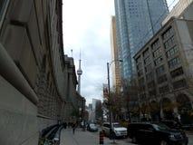 Toronto scene. CN tower uplook in Toronto, Canada Royalty Free Stock Photos