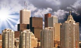 Toronto. Schöne Ansicht von Stadtskylinen vom Ontariosee Stockfotos