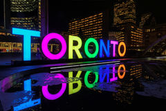 Toronto Sign on Nathan Phillips Square at night, in Toronto. View of Toronto Sign on Nathan Phillips Square at night, in Toronto, Canada Royalty Free Stock Photography