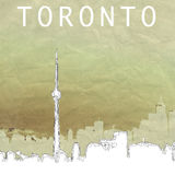 Toronto Skyline. A roughly sketched illustration of the downtown Toronto skyline. Rough textured crinkled paper background Stock Photography