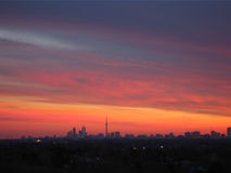 Toronto skyline. From far, clouds in the sky Stock Photos