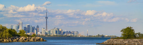 Toronto Skyline. Long panorama of Toronto and lake Ontario Royalty Free Stock Photo