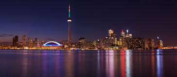 Toronto skyline. Downtown Toronto during pride week, from central island Royalty Free Stock Photography