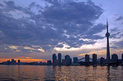 Toronto skyline. CN Tower. Toronto skyline from Ontario lake Stock Photo