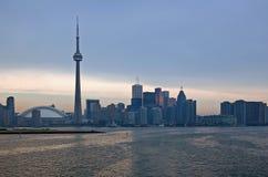 Toronto skyline. CN Tower. Toronto skyline from Ontario lake Royalty Free Stock Photos
