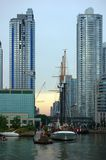 Toronto skyline. And sailing vessel from Ontario lake Stock Photography