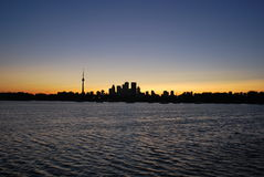 Toronto skyline. Sunset on the Toronto waterfront Royalty Free Stock Photography