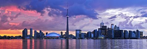 Toronto skyline. Scenic view at Toronto city waterfront skyline at sunset