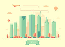 Toronto skyline architecture vector flat design Royalty Free Stock Photo