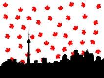 Toronto skyline in autumn illustration
