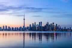 Toronto Skyline with blue light - Toronto, Ontario, Canada Royalty Free Stock Photography
