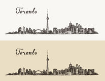 Toronto skyline Canada vintage engraved hand drawn Stock Images