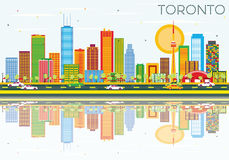 Toronto Skyline with Color Buildings, Blue Sky and Reflections. Vector Illustration. Business Travel and Tourism Concept with Historic Architecture. Image for Royalty Free Illustration