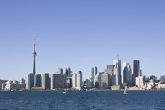 Toronto skyline during the day. As seen from on board the toronto island ferry Stock Photography