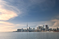 Toronto skyline during daytime. Daytime at Toronto with warm splash of light from across center ville stock images