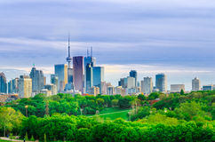 Toronto Skyline, Downtown with Cn Tower in the spring Stock Photo