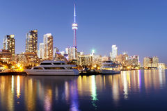 Toronto skyline at dusk with colorful reflections Royalty Free Stock Image