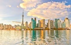 Toronto skyline at dusk royalty free stock image