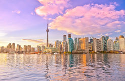Toronto skyline at dusk stock photos