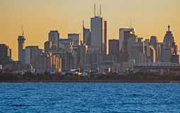 Toronto Skyline In Early Morning Light. View of the downtown Toronto, Ontario, Canada skyline across Lake Ontario from Etobicoke Point in Humber Bay Park West.n stock photo