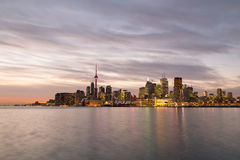 Toronto Skyline from the East at twilight Stock Image