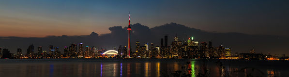 Toronto Skyline Evening Panoramic Stock Image