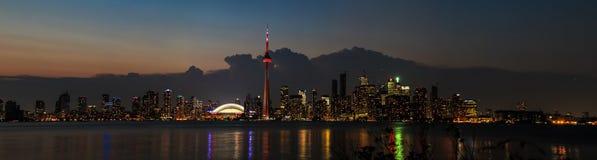 Toronto Skyline Evening Panoramic Stock Image