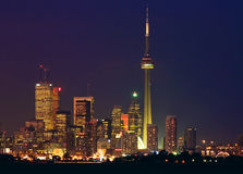 Toronto skyline - financial core at dusk royalty free stock image