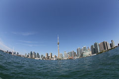 Toronto skyline through fisheye lens Royalty Free Stock Image