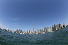 Toronto skyline through fisheye lens royalty free stock image