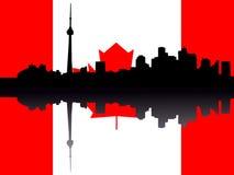 Toronto skyline with Flag. Toronto skyline reflected against Canadian Flag illustration Stock Image