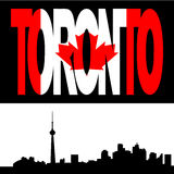 Toronto skyline with flag text Royalty Free Stock Images