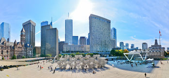 Toronto skyline and Nathan Phillips Square in Toronto