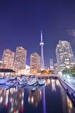 Toronto skyline at night royalty free stock photo