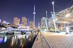 Toronto skyline at night stock image
