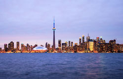 Toronto skyline at night royalty free stock photos