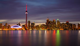 Toronto Skyline at Night and Reflection Stock Photos