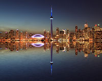 Toronto Skyline at night with a reflection Stock Image
