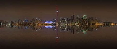 Toronto Skyline at night with a reflection Stock Images