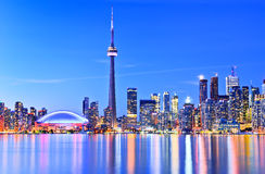 Toronto skyline in Ontario, Canada. The Reflection of Toronto skyline in Ontario, Canada stock photo