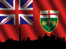 Toronto skyline Ontario flag Royalty Free Stock Photos