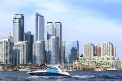 Toronto skyline over lake Panorama stock photography